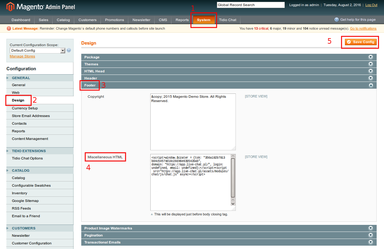 Live chat w Magento